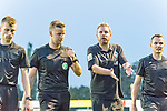 04.09.2018, Hoheellern-Stadion, Leer, GER, FSP, Werder Bremen (GER) vs FC Emmen (NED)<br /> <br /> DFL REGULATIONS PROHIBIT ANY USE OF PHOTOGRAPHS AS IMAGE SEQUENCES AND/OR QUASI-VIDEO.<br /> <br /> im Bild / picture shows<br /> Florian Kohfeldt (Trainer SV Werder Bremen) unzufrieden bei Arne Aarnink (GER)  (Schiedsrichter / referee) nach Spielende, <br /> <br /> Foto © nordphoto / Ewert