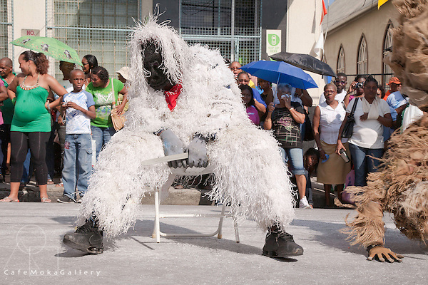 Traditional Mas parade- beast mas performing their antics