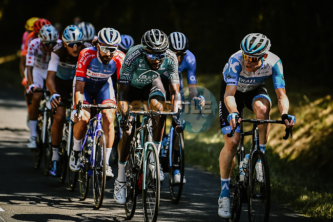 """The 13 man breakaway group led by Kevin Reza (FRA) B&B Hotels-Vital Concept 7'40"""" ahead during Stage 8 of Tour de France 2020, running 141km from Cazeres-sur-Garonne to Loudenvielle, France. 5th September 2020. <br /> Picture: ASO/Pauline Ballet 