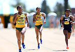 FARGO, ND - MAY 13: Rose Jackson from North Dakota State University leads the pack to the finish line in the women's 200 meter dash Saturday at the 2017 Summit League Outdoor Track Championship at the Ellig Sports Complex in Fargo, ND. (Photo by Dave Eggen/Inertia)