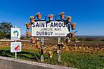 The Wine Route in early spring in Beaujolais, France. The cru of Saint Amour