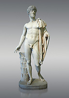 Roman staue of Lucius Verus with the idealised body of Diomedes, AD 160-170, inv 6095, Naples National Archaeological Museum, grey background