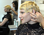 (Boston Ma 050313) Brittany Sybertz, foreground, with the nearly completed Gatsby hair style being worked on by stylist  Graziella Lembo, prior to that by stylist Shaun O'Connor  (Jim Michaud  Photo) Adv
