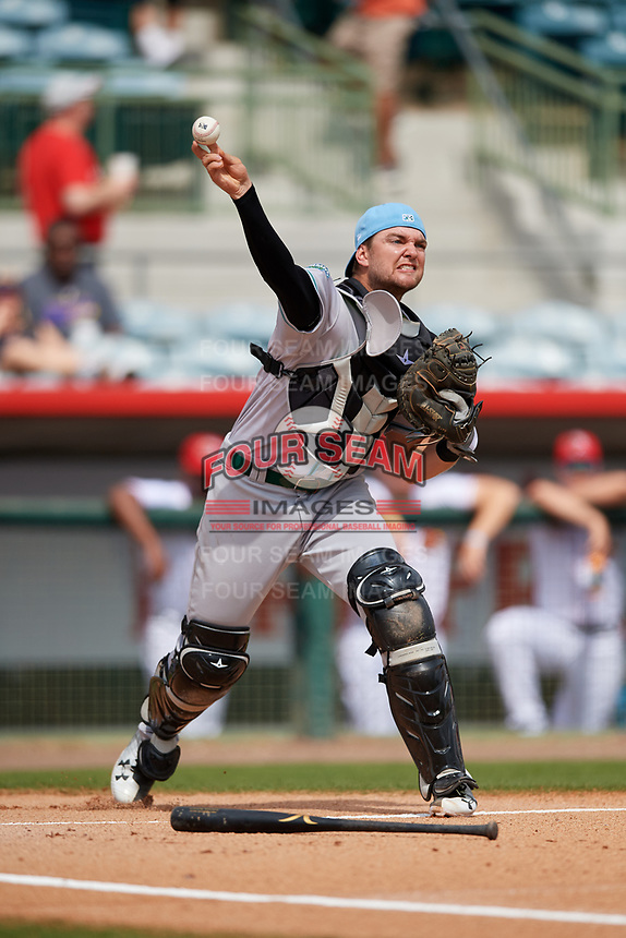 Daytona Tortugas catcher Cassidy Brown (28) throws to first base during a game against the Florida Fire Frogs on April 8, 2018 at Osceola County Stadium in Kissimmee, Florida.  Daytona defeated Florida 2-1.  (Mike Janes/Four Seam Images)