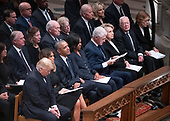 National funeral service in honor of the late former United States President George H.W. Bush at the Washington National Cathedral in Washington, DC on Wednesday, December 5, 2018.  Front row, left to right: US President Donald J. Trump, first lady Melania Trump, former US President Barack Obama, former first lady Michelle Obama, former US President Bill Clinton, former US Secretary of State Hillary Rodham Clinton, former US President Jimmy Carter, and former first lady Rosalynn Carter.  Second row: Karen Pence, former US Vice President Dan Quayle, Marilyn Quayle, former US Vice President Dick Cheney, Lynne Cheney, former US Vice President Joe Biden, Jill Biden<br /> Credit: Ron Sachs / CNP<br /> (RESTRICTION: NO New York or New Jersey Newspapers or newspapers within a 75 mile radius of New York City)