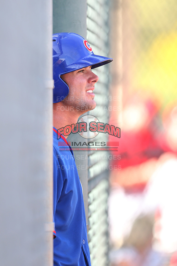Kris Bryant of the Chicago Cubs during a Minor League Spring Training Game against the Los Angeles Angels at the Los Angeles Angels Spring Training Complex on March 23, 2014 in Tempe, Arizona. (Larry Goren/Four Seam Images)