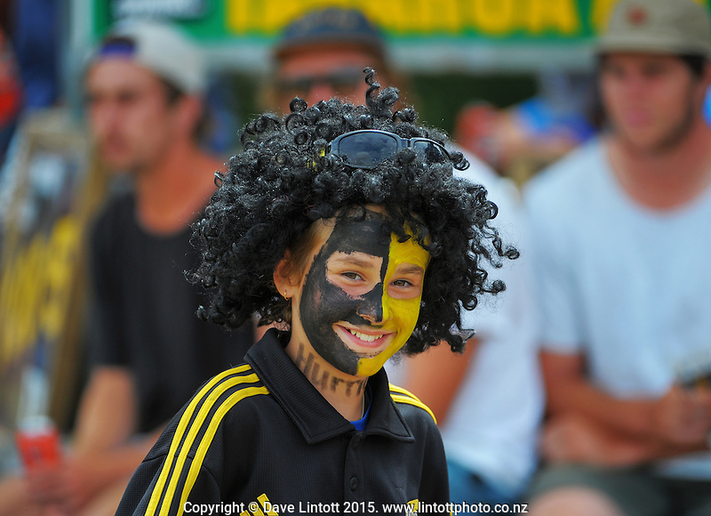 A face-painted fan during the Super Rugby match between the Hurricanes and Crusaders at Eketahuna, New Zealand on Saturday, 31 January 2015. Photo: Dave Lintott / lintottphoto.co.nz