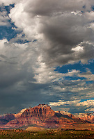 799800169v thunderstorms and clouds form over west temple and zion geological formations in this view from a backcountry scenic byway near hurricane utah