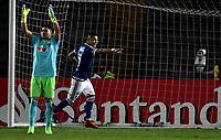 BOGOTA - COLOMBIA – 17 - 04 - 2018: Ayron del Valle jugador de Millonarios (COL), celebra el cuarto gol de su equipo a Deportivo Lara (VEN), durante partido entre Millonarios (COL) y Deportivo Lara (VEN), de la fase de grupos, grupo G, fecha 3 de la Copa Conmebol Libertadores 2018, en el estadio Nemesio Camacho El Campin, de la ciudad de Bogota. / Ayron del Valle player of Millonarios (COL), celebrates the fourth goal of his team to Deportivo Lara (VEN), during a match between Millonarios (COL) and Deportivo Lara (VEN), of the group stage, group G, 3rd date for the Conmebol Copa Libertadores 2018 in the Nemesio Camacho El Campin stadium in Bogota city. VizzorImage / Luis Ramirez / Staff.