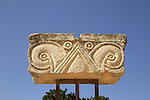 A Proto Aeolic capital from the Royal Palace, on display at Ramat Rachel Archaeological Garden