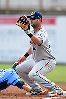 Fort Myers Miracle first baseman MIke Gonzales (32) takes a pickoff attempt throw during a game against the Charlotte Stone Crabs on April 16, 2014 at Charlotte Sports Park in Port Charlotte, Florida.  Fort Myers defeated Charlotte 6-5.  (Mike Janes/Four Seam Images)