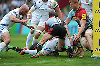 Thomas Waldrom of Exeter Chiefs is stopped short of the tryline by Nick Evans and George Merrick of Harlequins during the Aviva Premiership match between Harlequins and Exeter Chiefs at The Twickenham Stoop on Saturday 7th May 2016 (Photo: Rob Munro/Stewart Communications)