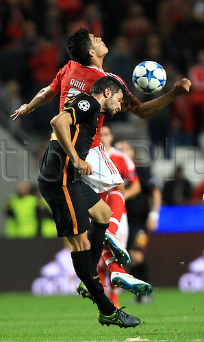 03.11.2015. Lisbon, Portugal.  UEFA Champions League Group C football match between Benfica and Galatasaray at Estadio da Luz Stadium in Lisbon, Portuga. Raul Jimenez of Benfica and Hakan Balta of Galatasaray.