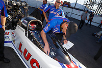 Nov 11, 2016; Pomona, CA, USA; Crew chief Aaron Brooks with NHRA top fuel driver Richie Crampton during qualifying for the Auto Club Finals at Auto Club Raceway at Pomona. Mandatory Credit: Mark J. Rebilas-USA TODAY Sports