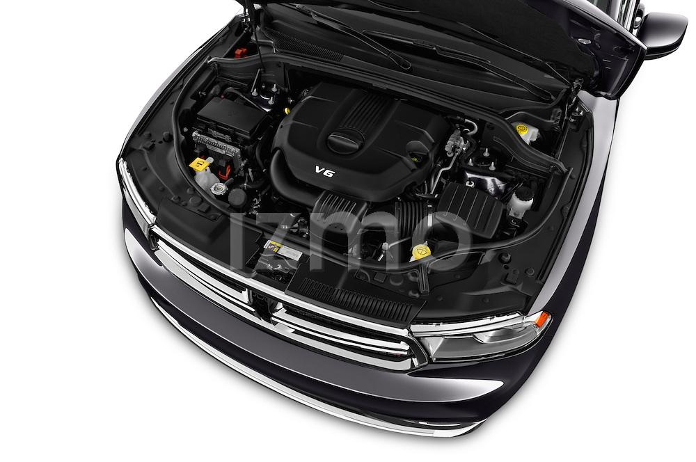 Car Stock 2015 Dodge Durango SXT 5 Door Suv Engine high angle detail view