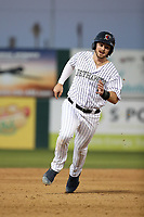 Brendan Rogers (1) of the Lancaster JetHawks runs the bases during a game against the Rancho Cucamonga Quakes at The Hanger on April 28, 2017 in Lancaster, California. Lancaster defeated Rancho Cucamonga, 16-10. (Larry Goren/Four Seam Images)