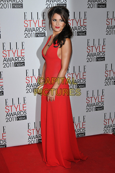 CHERYL COLE.The ELLE Style Awards 2011 at Grand Connaught Rooms, London, England..February 14th, 2011 .full length long maxi dress clutch bag side red sleeveless low cut cleavage .CAP/PL.©Phil Loftus/Capital Pictures.