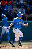 Pat Gallagher #27 of the UCLA Bruins bats against the California Golden Bears at Jackie Robinson Stadium on March 23, 2013 in Los Angeles, California. (Larry Goren/Four Seam Images)