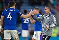 Leicester City manager Brendan Rodgers with Caglar Soyuncu of Leicester City at full time during the Premier League match between Leicester City and Newcastle United at the King Power Stadium, Leicester, England on 29 September 2019. Photo by Andy Rowland.