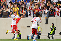 Connor Chinn (25) of the New York Red Bulls celebrates scoring with Irving Garcia (99). The New York Red Bulls defeated Juventus F. C. 3-1 during a friendly at Red Bull Arena in Harrison, NJ, on May 23, 2010.