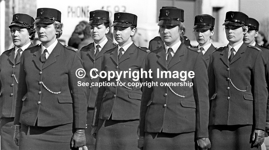 Woman colleagues attend the funeral in Bangor, Co Down, N Ireland, of Reserve Policewoman Mildred Harrison. Mildred, married with two children, was the first policewoman to die in the Troubles. The funeral was headed by the RUC Band. Mildred was passing the Ormeau Arms, in the High Street when a UVF bomb exploded there. It was the second UVF bomb attack on the Roman Catholic-owned premises. 197505190341a<br /> <br /> Copyright Image from Victor Patterson, 54 Dorchester Park, Belfast, UK, BT9 6RJ<br /> <br /> t: +44 28 90661296<br /> m: +44 7802 353836<br /> vm: +44 20 88167153<br /> e1: victorpatterson@me.com<br /> e2: victorpatterson@gmail.com<br /> <br /> For my Terms and Conditions of Use go to www.victorpatterson.com