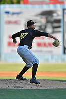 West Virginia Power starting pitcher Oddy Nunez (47) delivers a pitch during a game against the Asheville Tourists at McCormick Field on May 11, 2017 in Asheville, North Carolina. The Power defeated the Tourists 2-1. (Tony Farlow/Four Seam Images)