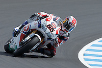 Jonathan Rea (GBR) riding the Honda CBR1000RR (65) of the Pata Honda World Superbike Team rounds turn 6 during a qualifying session on day one of round one of the 2013 FIM World Superbike Championship at Phillip Island, Australia.