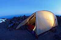 Tent in an alpine camp, Mount Adams, Yakima County, Cascade  Mountains, Washington, USA