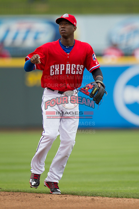 Round Rock Express second baseman Jurickson Profar #10 during the game against the Omaha Storm Chasers in the Pacific Coast League baseball game on April 7, 2013 at the Dell Diamond in Round Rock, Texas. Omaha beat Round Rock 5-2, handing the Express their first loss of the season. (Andrew Woolley/Four Seam Images).