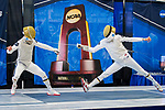UNIVERSITY PARK, PA - MARCH 25: Axel Kiefer of Notre Dame University (left) takes on teammate Nick Itkin (right) in the semifinals of the foil competition during the Division I Men's Fencing Championship held at the Multi-Sport Facility on the Penn State University campus on March 25, 2018 in University Park, Pennsylvania. (Photo by Doug Stroud/NCAA Photos via Getty Images)