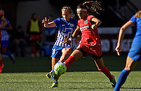 Portland, Oregon - Sunday September 4, 2016: Portland Thorns FC forward Nadia Nadim (9) wins the ball from Boston Breakers midfielder Louise Schillgard (10) during a regular season National Women's Soccer League (NWSL) match at Providence Park.