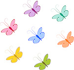 Vector set of colorful butterflies on isolated white background.<br />