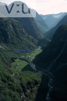 A U-shaped glacial valley, Scandinavia.