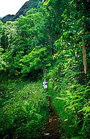 Hiking on the Maunawili Trail on the windward side of Oahu. This trail leads to the Maunawili Falls.