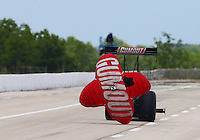 Apr 25, 2015; Baytown, TX, USA; NHRA top fuel driver Leah Pritchett during qualifying for the Spring Nationals at Royal Purple Raceway. Mandatory Credit: Mark J. Rebilas-