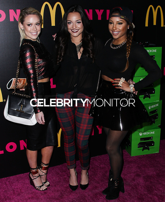 WEST HOLLYWOOD, CA - DECEMBER 05: Nichole Cordova, Candice Craig, Alex Segal of Girls United arriving at the Nylon Magazine December 2013/January 2014 Cover Launch Party held at Quixote Studios on December 5, 2013 in West Hollywood, California. (Photo by Xavier Collin/Celebrity Monitor)