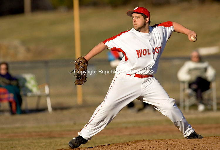 WOLCOTT, CT--09 APRIL 2007--040907JS08-Wolcott's Craig Hassinger pitched a complete game against Holy Cross during their game against Holy Cross Monday at the BAW complex in Wolcott.<br /> Jim Shannon / Republican-American