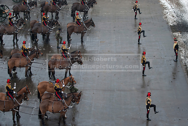 06/02/2012. LONDON, UK. Gunners of the Kings Troop Royal Horse Artillery are seen during their final parade at the unit's barracks in St Johns Wood. Gunners of the Kings Troop, based at St John's Wood since 1947, today (06/02/12) left their barracks for the last time to fire their guns in Hyde Park, the soldiers will move tomorrow to their new home in Woolwich. Photo credit: Matt Cetti-Roberts