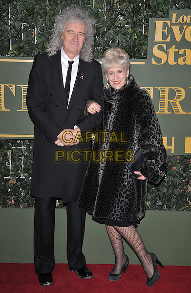 Brian May &amp; Anita Dobson attend the London Evening Standard Theatre Awards 2015, The Old Vic, The Cut, London, England, UK, on Sunday 22 November 2015.<br /> CAP/CAN<br /> &copy;CAN/Capital Pictures