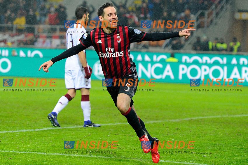 Esultanza gol di Giacomo Bonaventura Milan 2-1. Celebration goal<br /> Milano 12-01-2017 Stadio Giuseppe Meazza - Football Calcio Coppa Italia Milan - Torino. Foto Giuseppe Celeste / Insidefoto