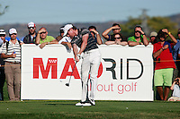 Brett Rumford (AUS) tees off on the 18th tee during Sunday's Final Round of the Bankia Madrid Masters at El Encin Golf Hotel, Madrid, Spain, 9th October 2011 (Photo Eoin Clarke/www.golffile.ie)