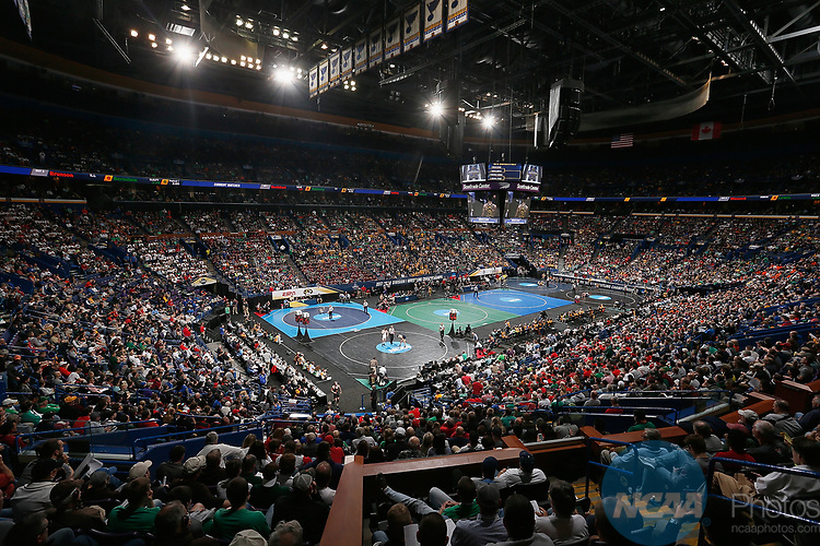 ST. LOUIS, MO - MARCH 17:  An overall view during the Division 1 Men's Wrestling Championships held at Scottrade Center on March 17, 2017 in St. Louis, Missouri. (Photo by Mark Buckner/NCAA Photos via Getty Images)