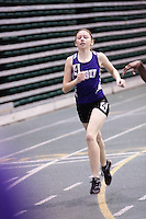 Southwest Baptist University sophomore Emma Schell  sprints to the finish in the 400 meter finals at the 2012 MIAA Indoor Track & Field Championships at Missouri Southern in Joplin, Sunday, February 26. Shell came from behind to finish third and earn All-Confernece honors.