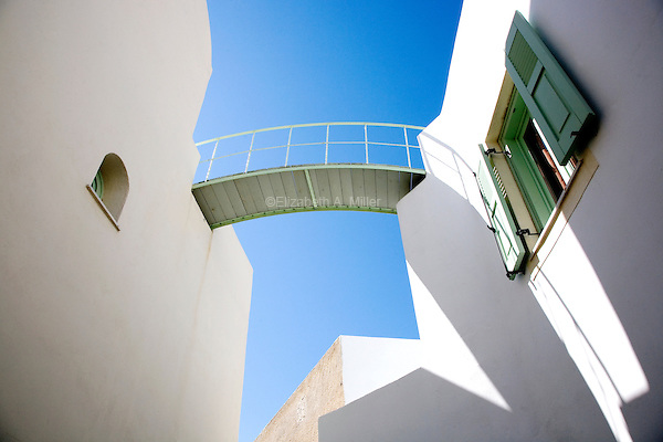 View of a pedestrian bridge at Hotel Ira in Santorini, Greece on July 4, 2013.