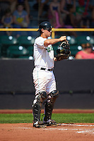 Clinton LumberKings catcher Wayne Taylor (8) warms up the pitcher in between innings during a game against the Great Lakes Loons on August 16, 2015 at Ashford University Field in Clinton, Iowa.  Great Lakes defeated Clinton 3-2.  (Mike Janes/Four Seam Images)