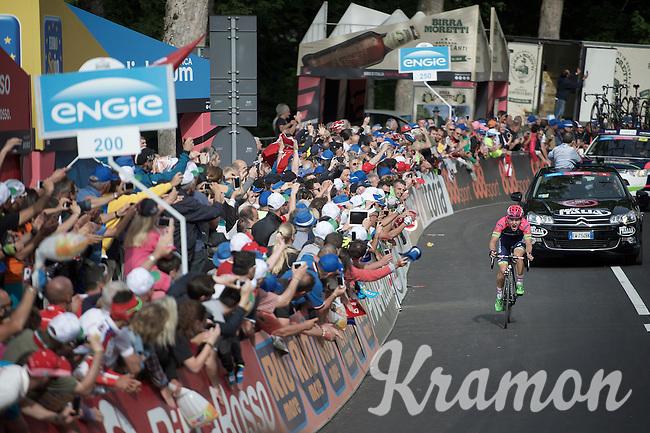 final 200m for race leader (and stage winner) Jan Polanc (SLO/Lampre-Merida) at the top of the Abetone climb (1386m)<br /> <br /> 2015 Giro<br /> stage 5: La Spezia - Abetone (152km)