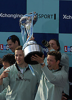 London, GREAT BRITAIN,   2007 Cambridge, left, Thorsten ENGLEMANN, and Sebastian SCHULTE hold the Boat Race Trophy aloft,  Sat. April 7th. England [Photo Peter Spurrier/Intersport Images] Varsity Boat Race, Rowing Course: River Thames, Championship course, Putney to Mortlake 4.25 Miles,