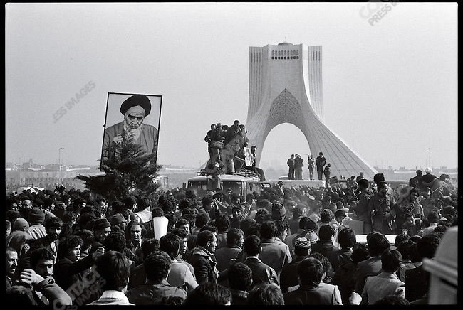 Crowds of supporters near the Shahyad Monument hope to see the Ayatollah Khomeini, who did not show up. Tehran, February 1, 1979