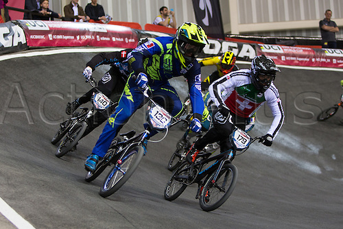 10.04.2016. National Cycling Centre, Manchester, England. UCI BMX Supercross World Cup Finals. Arthur Pilard, Jimmi Therkelsen and Simon Marquart.