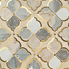 Eleanor, a waterjet stone mosaic, shown in honed Argent Blue, Palomar, and brushed Brass, is part of the Bright Young Things™ collection by New Ravenna.